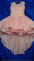 Детское нарядное платье бальное Гиацинт со шлейфом Возраст 6-7 лет. Персик