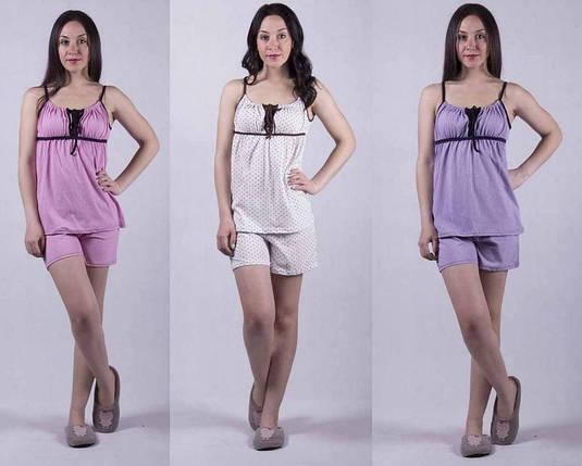 Трикотажная женская пижама топ с шортами, фото 2