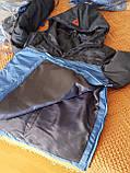 Спортивна утеплена куртка анорак. Синій+електрик. XS - XL, фото 2