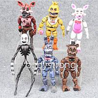 Коллекция 5 ночей с Фредди 6 шт Фигурки 15 СМ Большие + Свет + Разборные на части, Фнаф Аниматроники игрушки