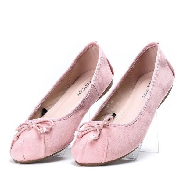 Женские балетки замша, розовые