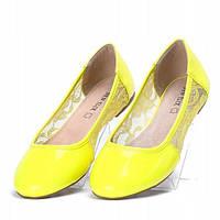 Женские балетки ярко желтые , фото 1
