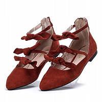 Женские балетки бордовые , фото 1