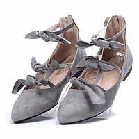 Женские балетки замшевые серого цвета , фото 1
