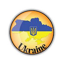Наклейка карта Украины,круг 12.7*12.7 см винил