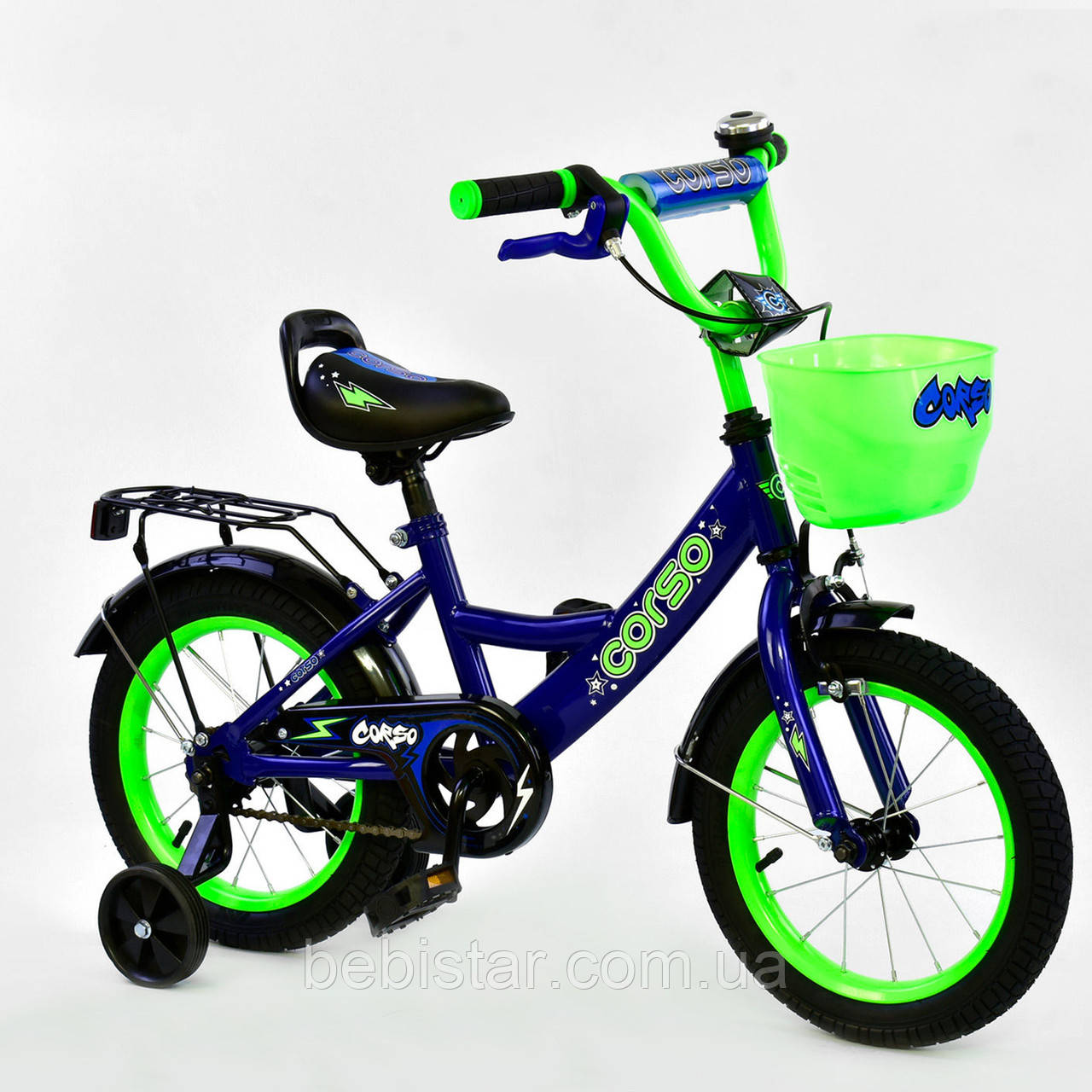 """Двухколесный детский велосипед синий салатовый обод ручной тормоз звоночек корзинка Corso 14"""" деткам 3-5 лет"""