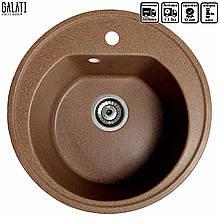 Кухонная гранитная мойка коричневая 51 см Galati Klasicky Teracotă (701)