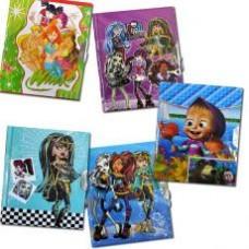 """32K Блокнот детский с замочком в футляре с изображением любимых мультгероев, """"микс"""""""