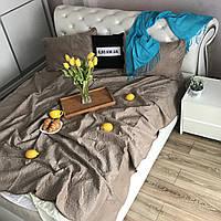 Велюровое покрывало на кроватьALBO 210х230 cm + наволочки50x70 cm (2 шт) Капучино (P-C7), фото 1