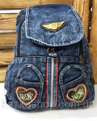 Прогулочный джинсовый женский рюкзак без подклада, на 3 отдела, фото 2
