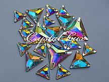 Стразы пришивные Lux Треугольники 16мм. Crystal AB