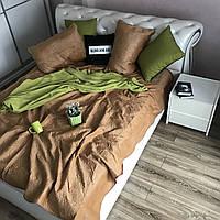 Велюровое покрывало на кроватьALBO 210х230 cm + наволочки50x70 cm (2 шт) Золотистое (P-C6)