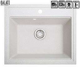 Белая мойка для кухни с вкраплениями 60 *52 см Galati Patrat Biela (101)