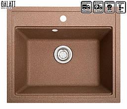 Мойка для кухни коричневая 60 * 52 см Galati Patrat Teracotă (701)