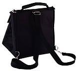 Ланч бег, термосумка - рюкзак. Lunch bag Dolphin з вишивкою My lunch. Чорний, фото 3
