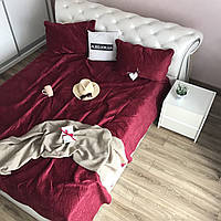 Термостеганное велюровое покрывало Rozochka на двуспальную кровать с 2 наволочками, евро размер, бордо