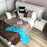 Велюровое покрывало на кроватьALBO 210х230 cm + наволочки50x70 cm (2 шт) Шоколадно-белое (P-C1)