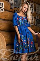 Модное женское платье с вышивкой рукав до локтя коттоновое полотно, фото 1