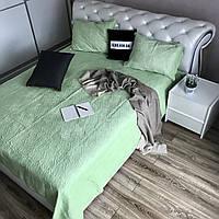 Велюровое покрывало на кроватьALBO 210х230 cm + наволочки50x70 cm (2 шт) Салатовое (P-C9)