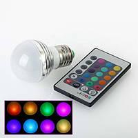Разноцветная светодиодная лампочка на 3W E27 с пультом управления