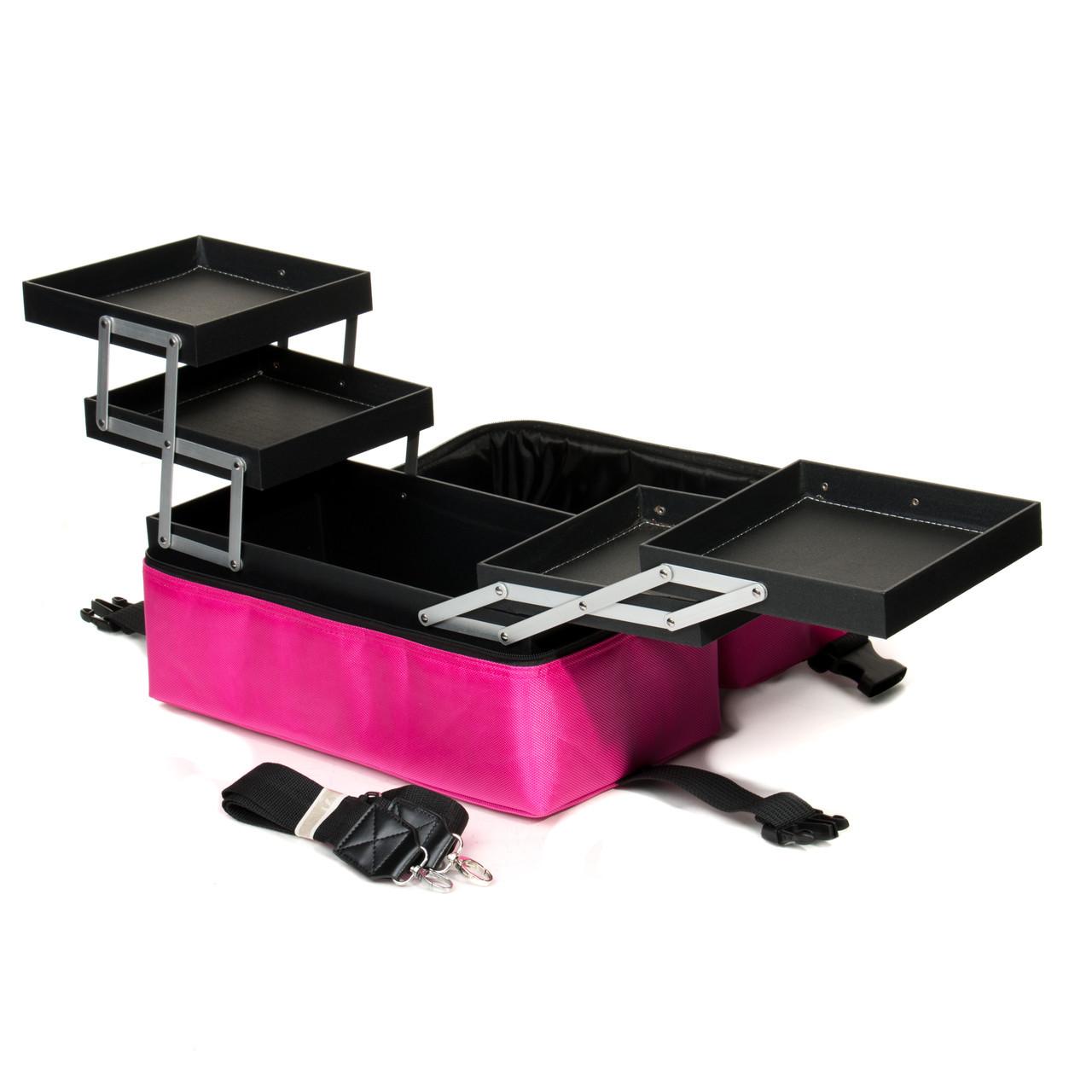 Профессиональный кейс для косметики с вынимающимся органайзером, Pink тканевый