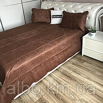 Велюровое покрывало на кровать ALBO 210х230 cm + наволочки 50x70 cm (2 шт) (P-C), фото 3