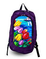 Рюкзак школьный, женский с цветочным принтом.