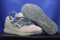 Серо-розовые женские кроссовки Asics Gel натуральный замш
