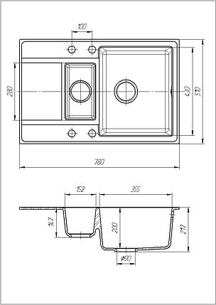 Кухонная мойка с крылом гранитная 78*51 см Galati Jorum 78D Grafit (3342), фото 2