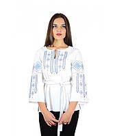 Женская вышиванка Нежность ромбы с поясом, белая, під замовлення