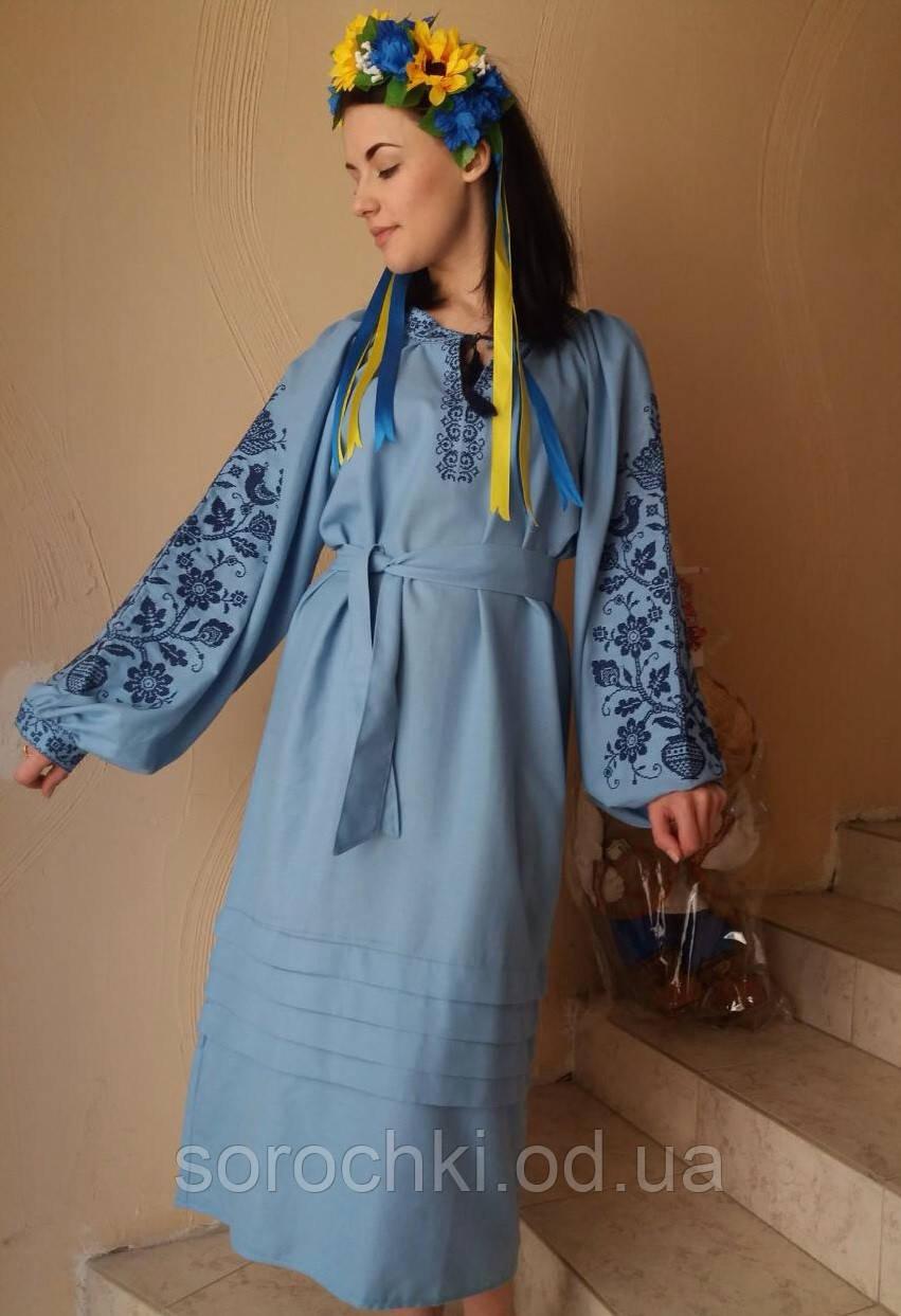 """Платье женское ,голубое , с вышивкой, в этническом стиле ,"""" цветы"""" домотканное полотно"""