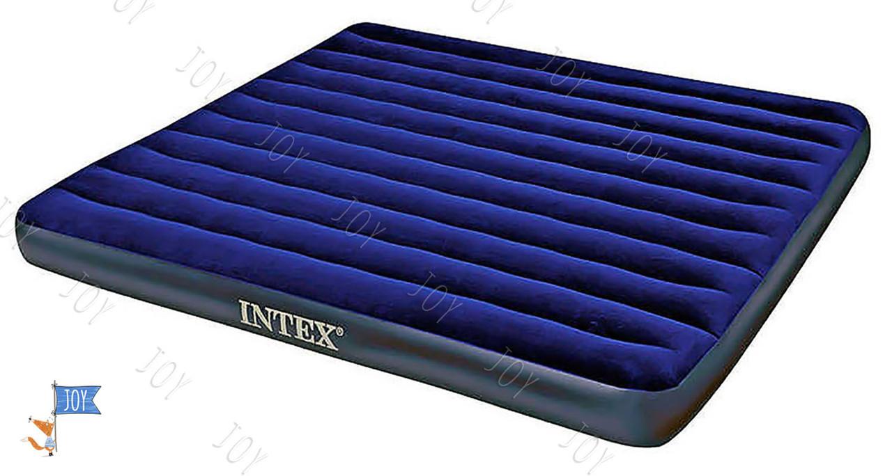 Intex Велюр матрац 68755 (2) синий, большой, 203х183х22см, в коробке