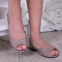 Босоножки кожаные на тонкой подошве каблук 1см белые от 33 до 41 размера, фото 3