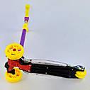 Трехколесный самокат фиолетовый четыре колеса с подсветкой платформы и светящимися колесами деткам от 3 лет , фото 2