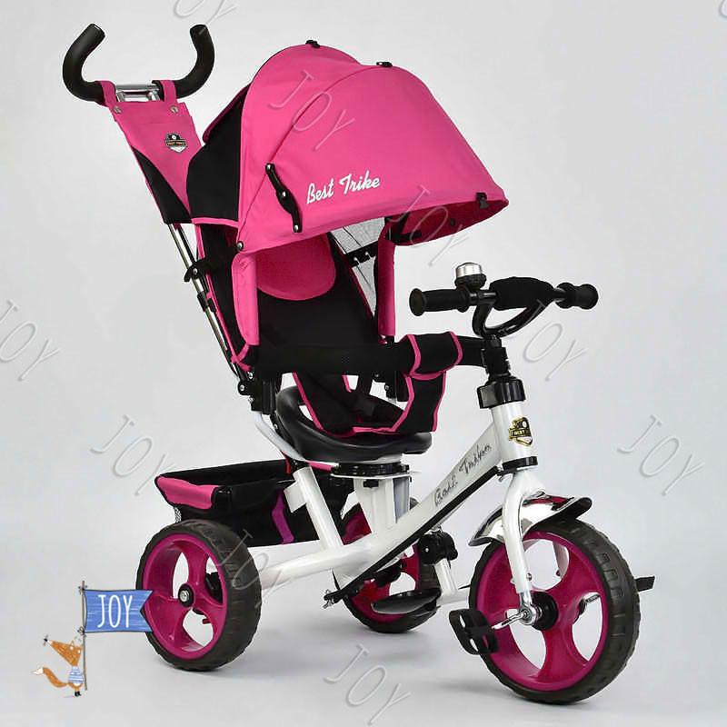 Велосипед 3-х кол. 5700 - 3980 (1) /РОЗОВЫЙ/ Best Trike поворотное сидение, колеса EVA  (пена), d=28см. переднее, d=24см задние