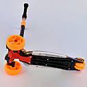 Трехколесный самокат оранжевый с подсветкой платформы и светящимися колесами деткам от 3 лет , фото 4