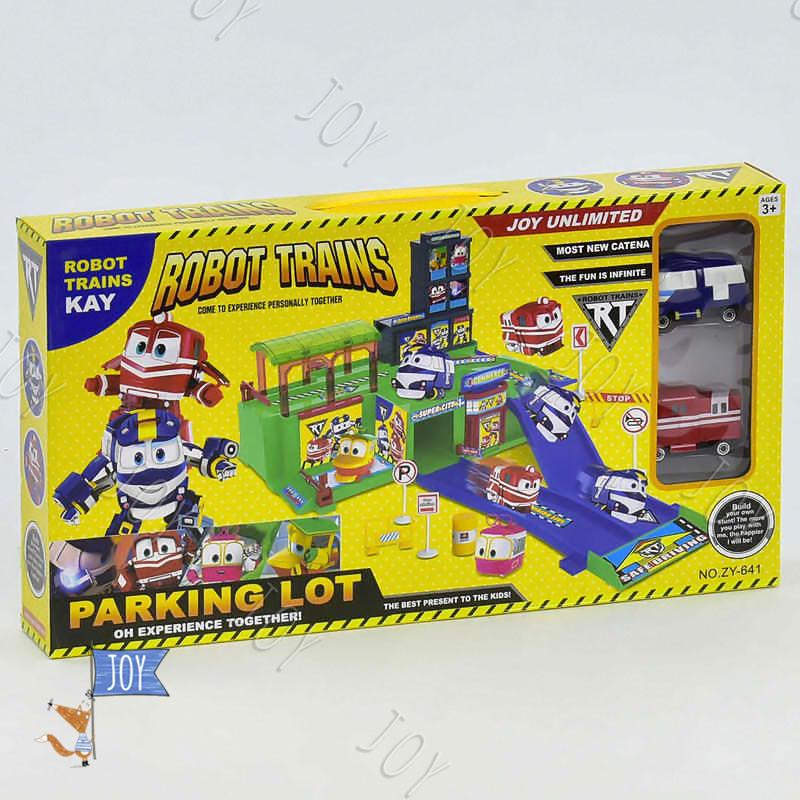 """Гараж ZY 641 (36) """"Robot Trains"""", 2 машины, в коробке"""