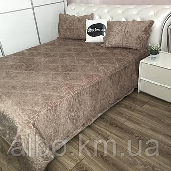 Хутряне покривало на ліжко ALBO 220x240 cm + наволочки 50x70 cm (2 шт) Капучино (P-E-7)