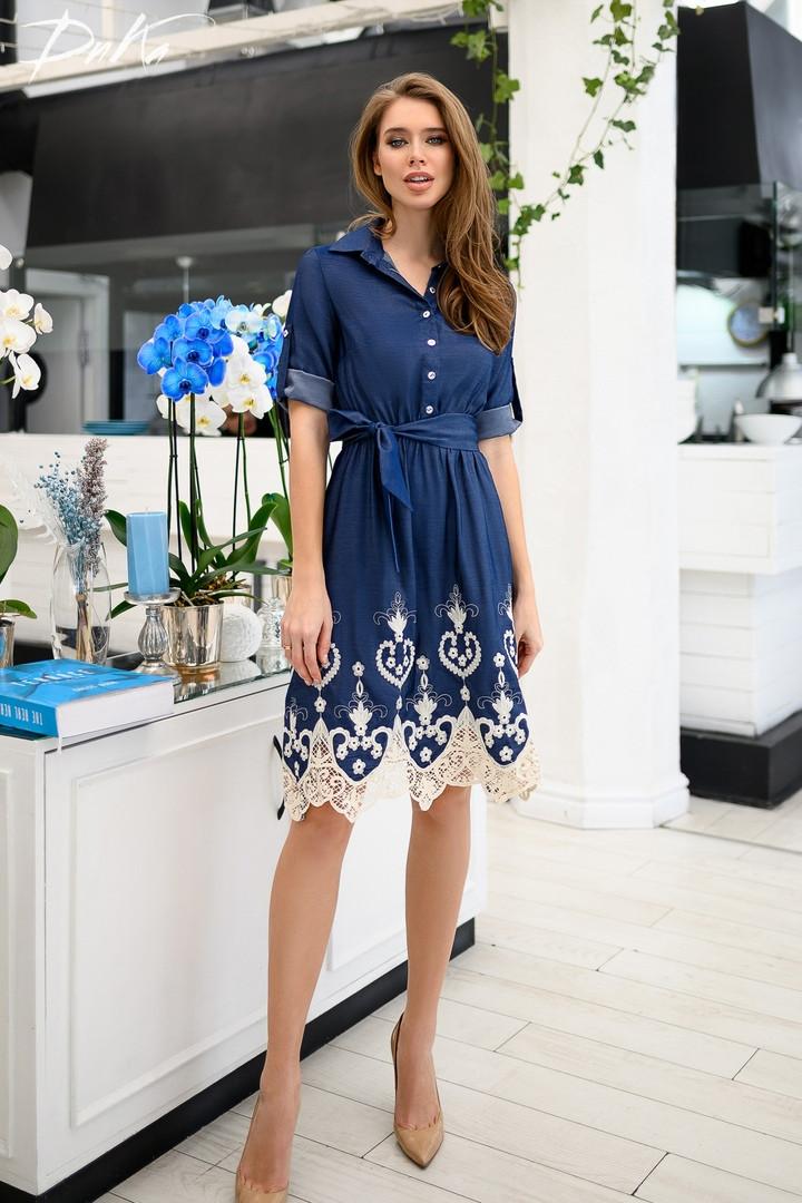 a3949189e41 Женское джинсовое платье с кружевом