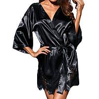 Шикарный черный халатик с кружевом+стринги.