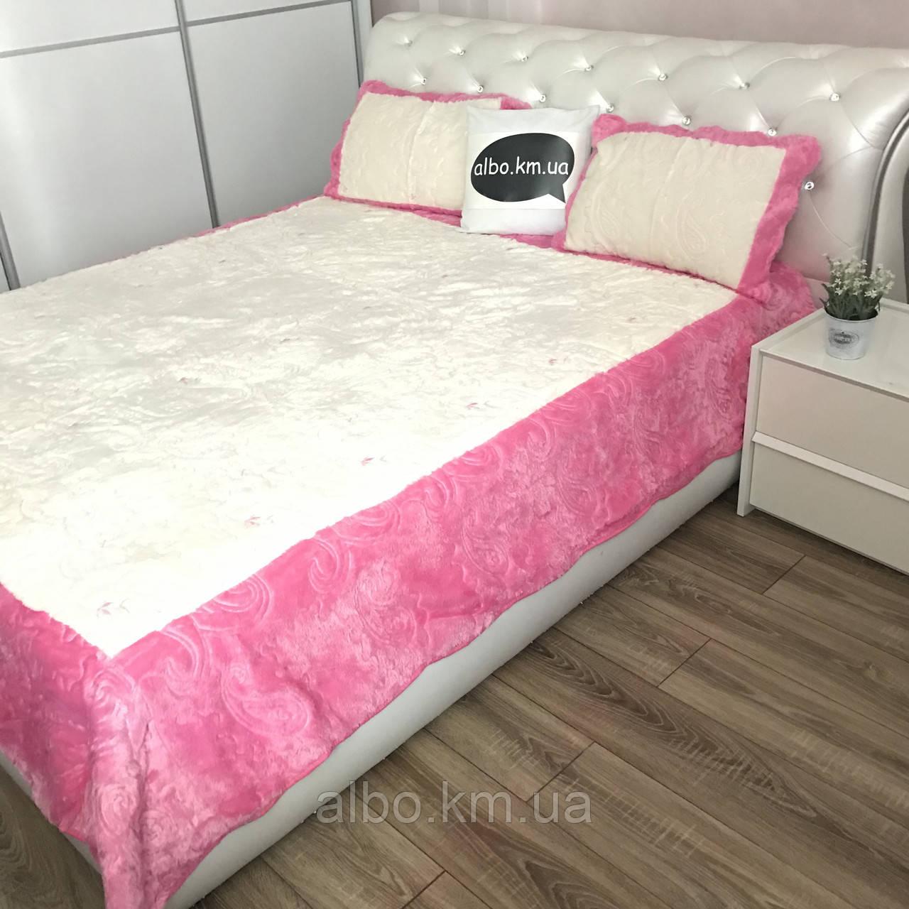 Стильное покрывало на кровать ALBO 220x240 cm + наволочки 50x70 cm(2 шт) Розовое (P-E-3-4)