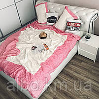 Стильное покрывало на кровать ALBO 220x240 cm + наволочки 50x70 cm(2 шт) Розовое (P-E-3-4), фото 4