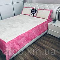 Стильное покрывало на кровать ALBO 220x240 cm + наволочки 50x70 cm(2 шт) Розовое (P-E-3-4), фото 8