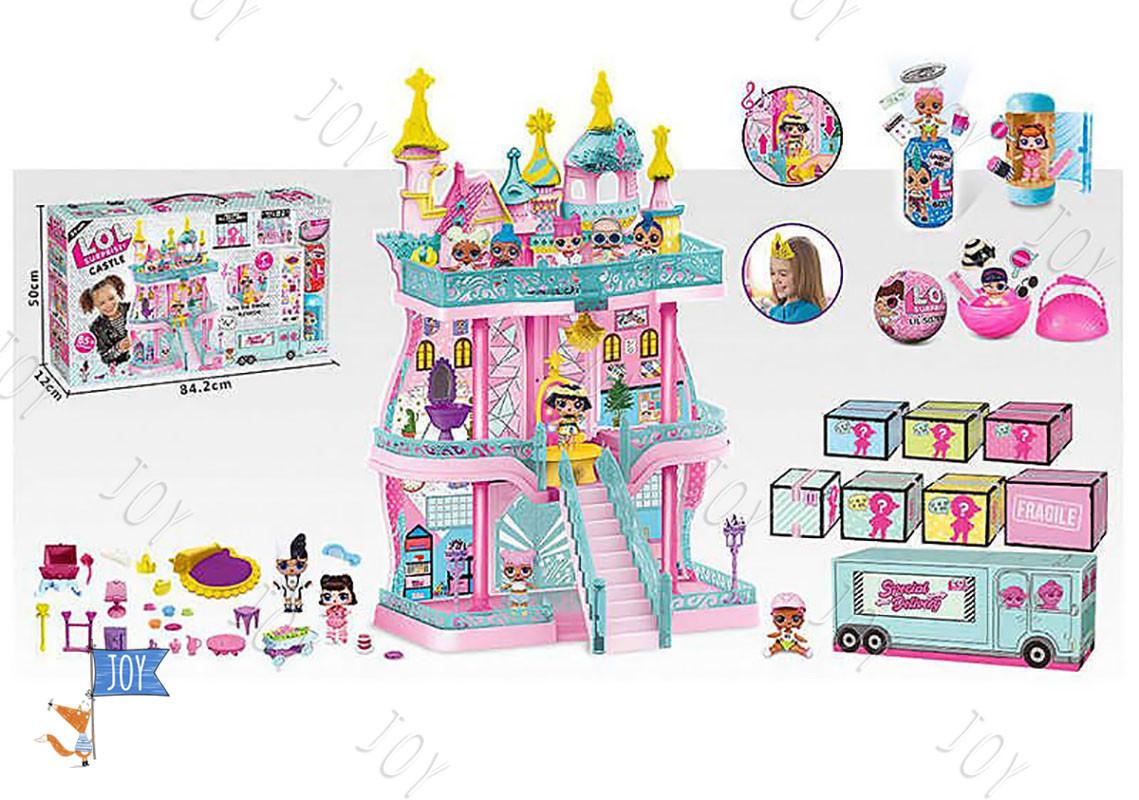 Домик К 5626 (6), трехэтажный, со световыми и звуковыми эффектами, 3 куклы, в коробке