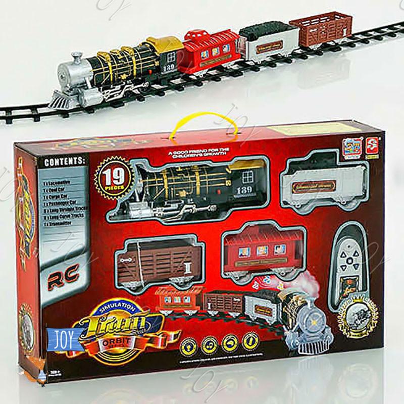Железная дорога 3054 (12) паровоз на р/у, свет, звук, в коробке
