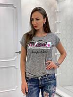 Футболка женская стильная с надписью и пайетками Svv91, фото 1