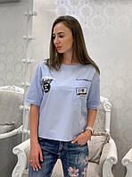 Футболка женская стильная с принтами и карманом Svv92, фото 1