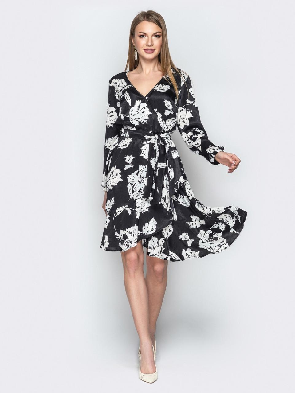 e561a6ddc50 Шёлковое стильное женское платье на запах р.44