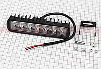 Фара дополнительная светодиодная влагозащитная - 6 LED с креплением, прямоугольная 155*42мм