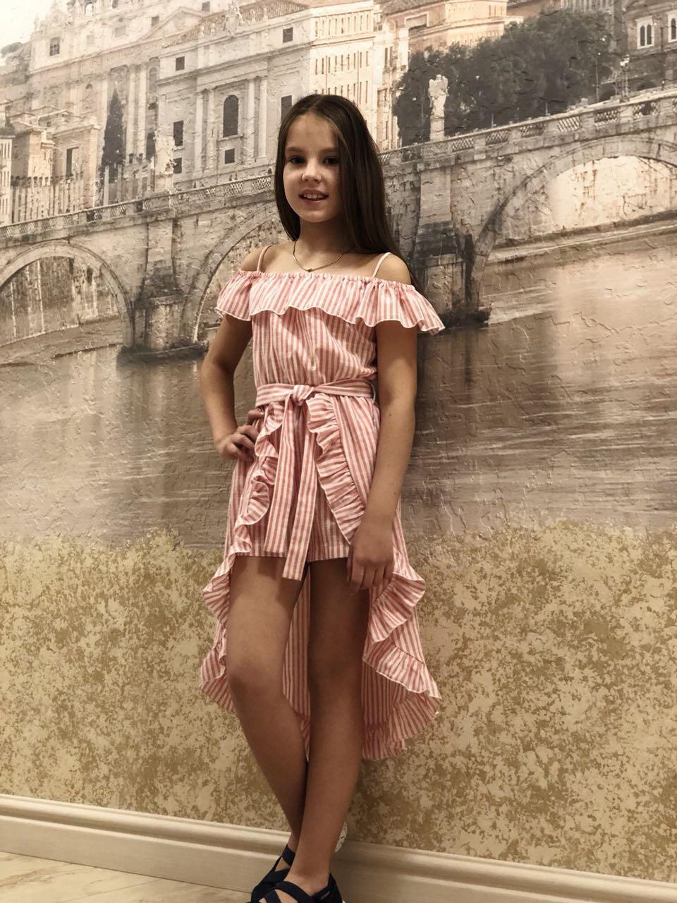 Летнее платье для девочки с шортиками 128-152 оптом
